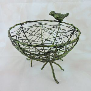 Other - Metal Bird Nest Basket  Pedestal Branch Bottom